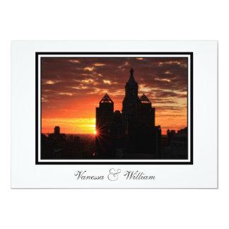 """El boda de la salida del sol del horizonte de NYC Invitación 5"""" X 7"""""""