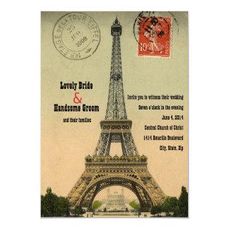 """El boda de la torre Eiffel de la postal de París Invitación 5"""" X 7"""""""