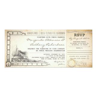 """el boda de la travesía del documento de embarque invitación 4"""" x 9.25"""""""