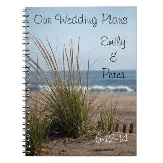 El boda de la vista al mar planea el cuaderno