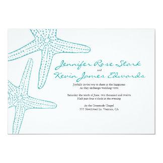 """El boda de las estrellas de mar de la turquesa invitación 5"""" x 7"""""""