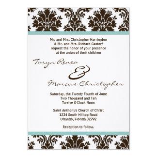 el boda de lino del cordón del damasco de 5x7 comunicado personalizado