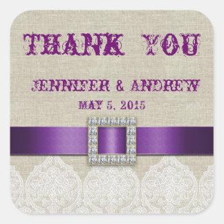 El boda de lino del vintage del cordón blanco le a colcomanias cuadradas personalizadas