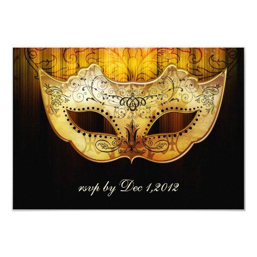 """El boda de lujo de la mascarada del oro del invitación 3.5"""" x 5"""""""