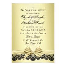 """El boda de lujo del cordón del negro de la cinta invitación 5"""" x 7"""""""