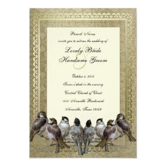 """El boda de lujo del vintage del oro de los pájaros invitación 5"""" x 7"""""""