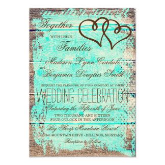 """El boda de madera de la aguamarina doble rústica invitación 5"""" x 7"""""""