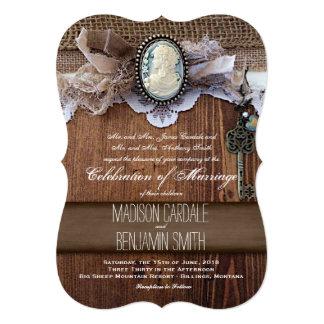 El boda de madera de la arpillera de la llave del comunicados personales