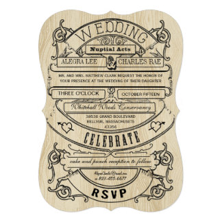 El boda de madera de la tipografía moderna del vin comunicado personalizado