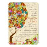 El boda de madera del árbol de la flor del invitación 12,7 x 17,8 cm
