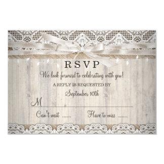 """El boda de madera del cordón rústico del vintage invitación 3.5"""" x 5"""""""