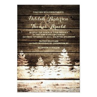 """El boda de madera del invierno de los árboles de invitación 5"""" x 7"""""""