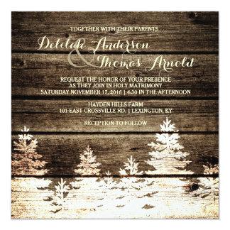 """El boda de madera del invierno de los árboles de invitación 5.25"""" x 5.25"""""""