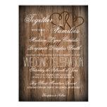 El boda de madera del país de los corazones invitación 11,4 x 15,8 cm