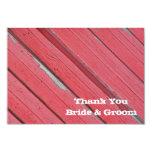 El boda de madera del país del granero rojo le invitación 8,9 x 12,7 cm