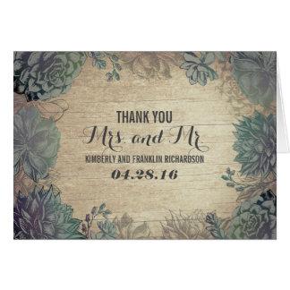 El boda de madera rústico de los Succulents le Tarjeta Pequeña