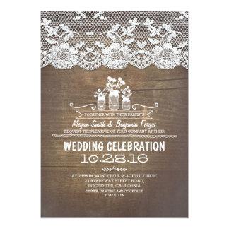 El boda de madera rústico del cordón de los tarros invitación 12,7 x 17,8 cm