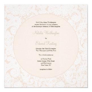 """El boda de marfil del monograma del cordón de invitación 5.25"""" x 5.25"""""""