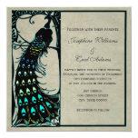 El boda de Nouveau del arte del pavo real del Invitación 13,3 Cm X 13,3cm