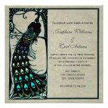 El boda de Nouveau del arte del pavo real del vint Comunicados Personalizados