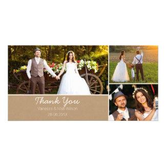 El boda de papel de Kraft le agradece tarjeta de Tarjetas Personales Con Fotos