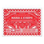 El boda de Papel Picado invita - a rojo Invitación Personalizada