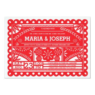 El boda de Papel Picado invita - a rojo Invitación 12,7 X 17,8 Cm