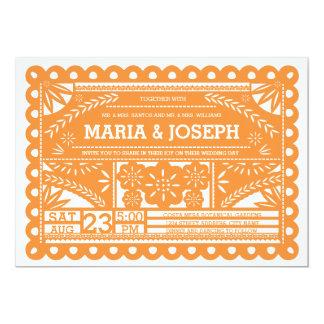 El boda de Papel Picado invita - al naranja Invitación 12,7 X 17,8 Cm