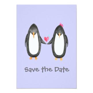 El boda de Pengin Luv invita Invitación 12,7 X 17,8 Cm