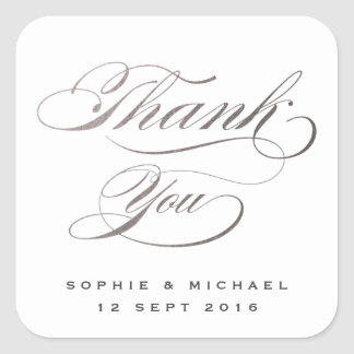 El boda de plata de la caligrafía le agradece pegatina cuadrada