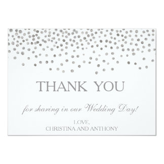 """El boda de plata elegante del confeti le agradece invitación 4.5"""" x 6.25"""""""