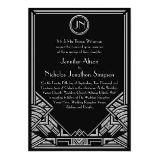 """El boda de plata negro del estilo de Gatsby del Invitación 5"""" X 7"""""""