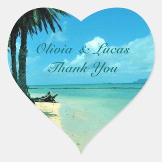 El boda de playa azul de Hawaii le agradece Pegatina En Forma De Corazón