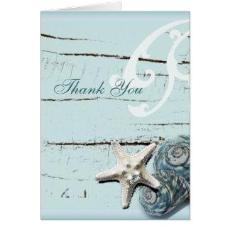 El boda de playa azul de los Seashells le agradece Tarjeton