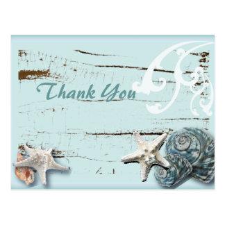El boda de playa azul de los Seashells le agradece Tarjetas Postales