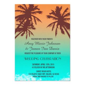 """El boda de playa azul del océano de las palmeras invitación 4.5"""" x 6.25"""""""
