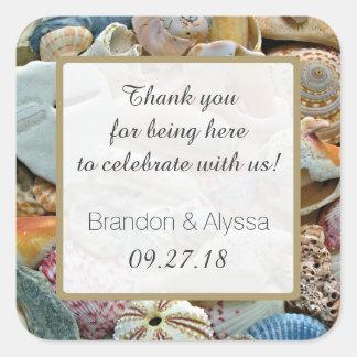 El boda de playa cuadrado le agradece favorecer pegatina cuadrada