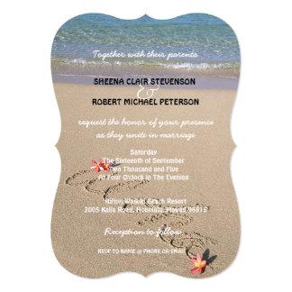 El boda de playa de la flor del Plumeria de la Invitación 12,7 X 17,8 Cm