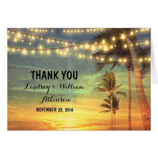 el boda de playa de la puesta del sol le agradece tarjeta pequeña