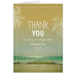 El boda de playa de las palmeras le agradece las tarjeta pequeña