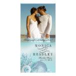 El boda de playa de los sueños del Seashell le agr Tarjeta Fotográfica Personalizada