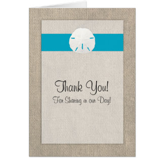El boda de playa del dólar de arena le agradece ca tarjeta pequeña