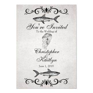 El boda de playa del tiburón y de las medusas del invitación 12,7 x 17,8 cm