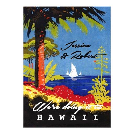 El boda de playa exótico retro de la isla del vint invitación personalizada