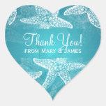 El boda de playa le agradece azul de las estrellas calcomanía corazón
