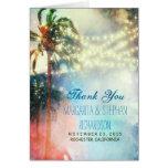 el boda de playa le agradece cardar con las luces tarjeta
