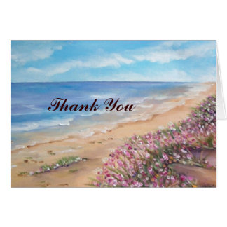 el boda de playa le agradece cardar tarjeta de felicitación