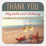 el boda de playa le agradece los pegatinas calcomanía cuadradas personalizada