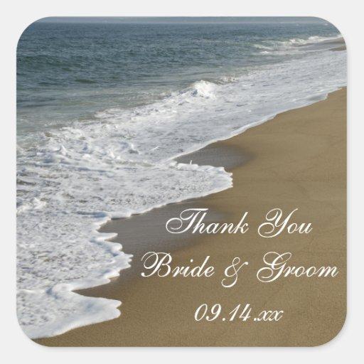 El boda de playa le agradece los pegatinas calcomanía cuadrada personalizada