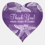 El boda de playa le agradece púrpura de las pegatina en forma de corazón